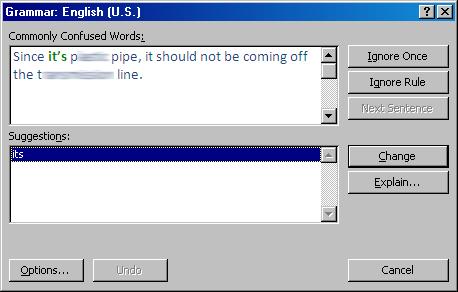 Faulty grammar check error message dialog box