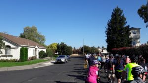 Riders on a residential street